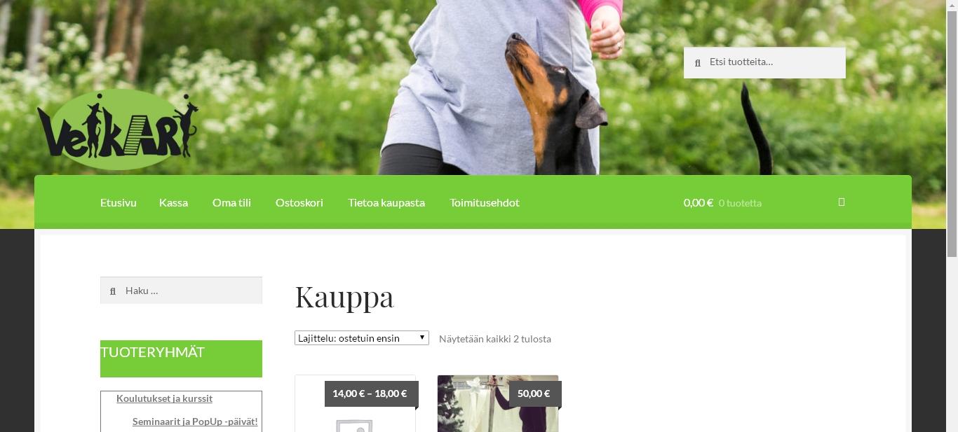 Koirakoulu Veikari WooCommerce verkkokauppa